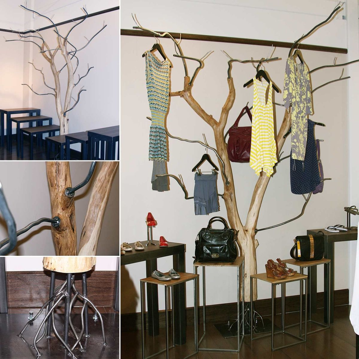 Hand Made Salavged Tree Clothing Rack By Where Wood Meets