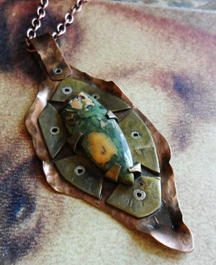 Custom Made Riveted Brass And Copper Necklace With Rainforest Jasper Stone