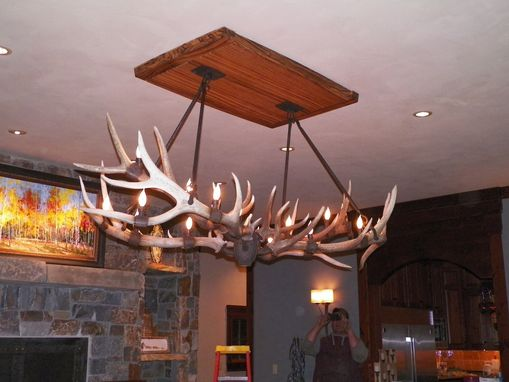 Custom Made Shed Elk Antler Chandelier