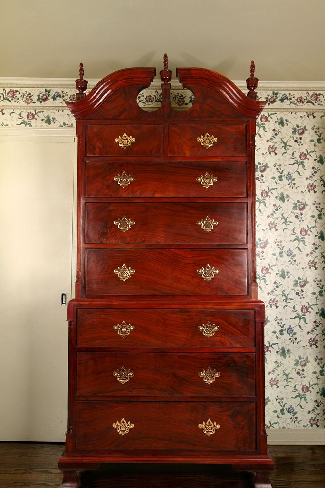 Custom Made Chippendale Style Walnut Chest On Dresser