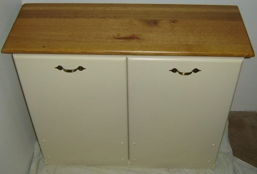Custom Made New Solid Maple Wood Double Kitchen Garbage Bin | Trash Can | Recycling Bin