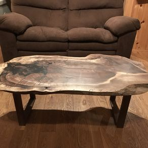 Live Edge Walnut Coffee Table With Actual Walnuts By Andrew Martin