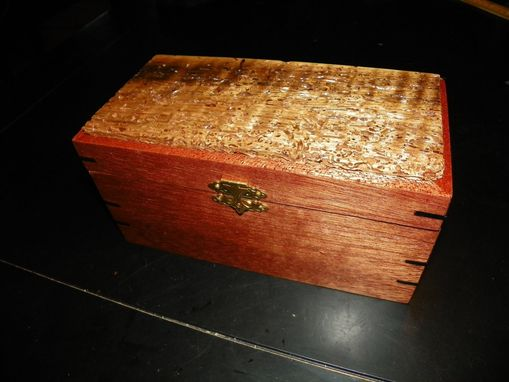Custom Made Custom Built Mahogany Box With Ebony Accents And Worm-Eaten And Tiger-Striped Myrtlewood Top