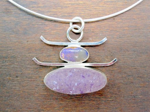 Custom Made Boulder Opal And Amethyst Crystal Pendant In Sterling Silver