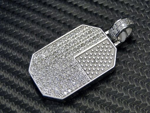 Custom Made Usa- American Flag- 14k White Gold Diamond Pendant