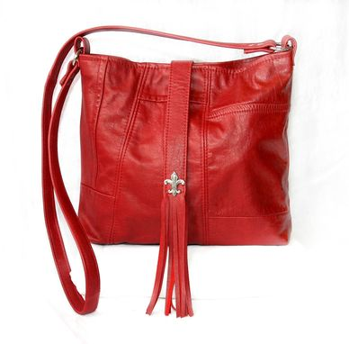 Custom Made Upcycled Leather Handbag - Fringe Detail And Crossbody Long Strap - Red
