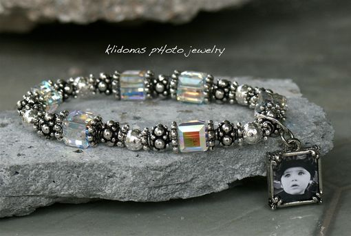 Custom Made Photo Bracelet With Swarovski Cube Beads And Pewter Beads