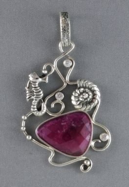 Custom Made Silver Pendant With Tourmaline, Seahorse And Shell