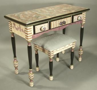 Custom Made Hand Painted Vanity-Desk With Stool