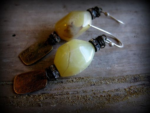 Custom Made Yellow Jade Gemstone And Etched Brass Metal Dangling Earrings