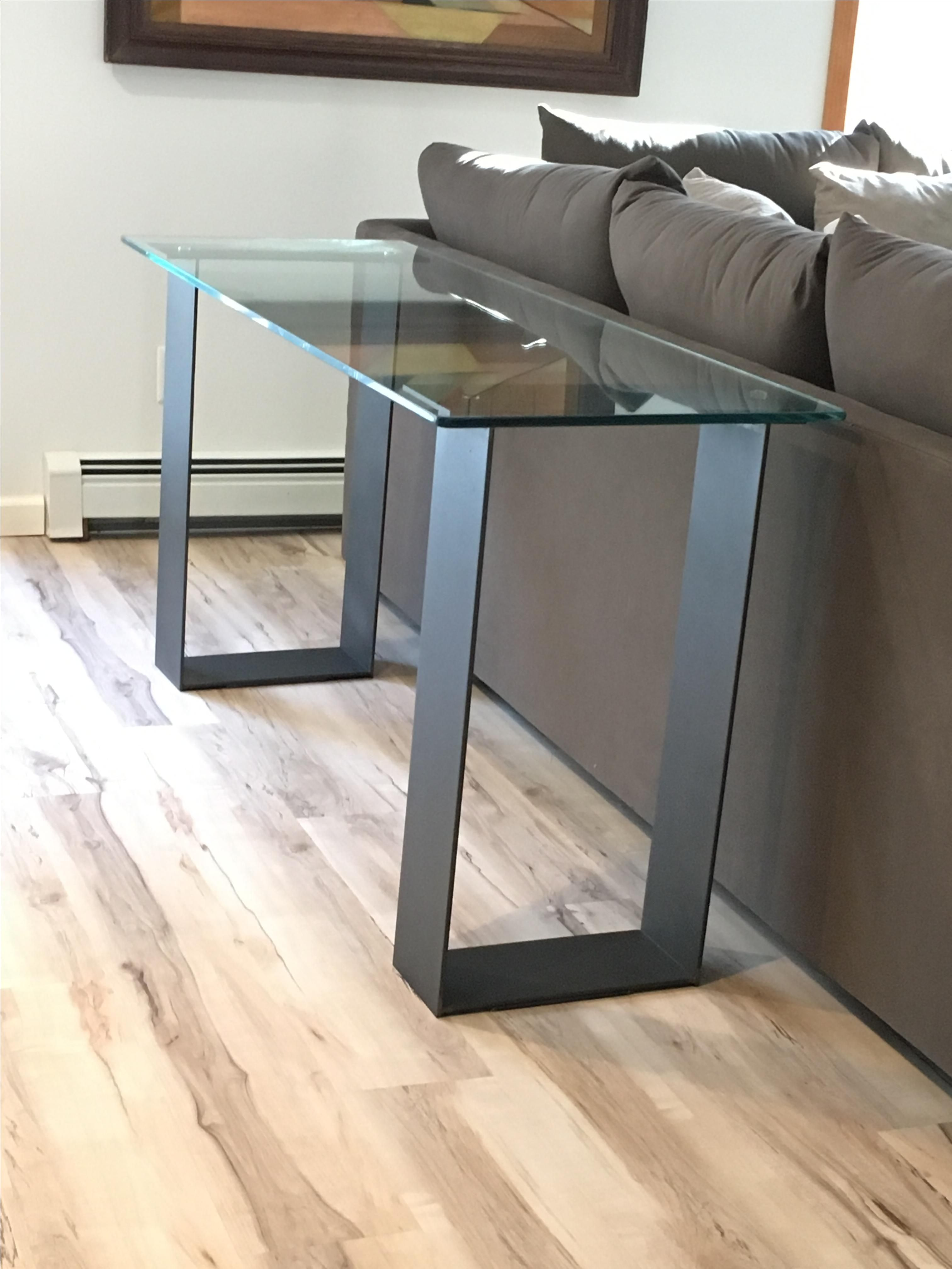 Buy A Custom Glass And Steel Contemporary Sofa Table
