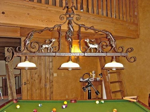 Custom Made Pool Table Chandelier, Fabricated Metal Sculpture