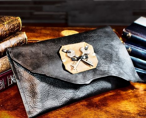 Custom Made Hartford Black Leather Clutch With Skeleton Key Coat Of Arms