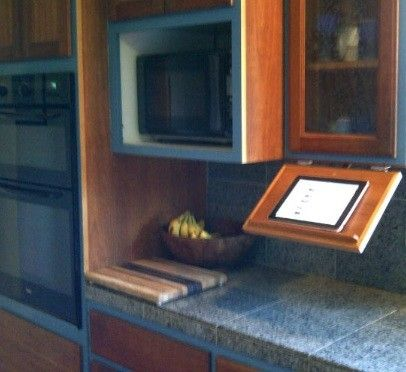 Custom Made Under Cabinet Pull-Down Tablet Computer Kitchen Shelf (Tabletkitchenspace™)