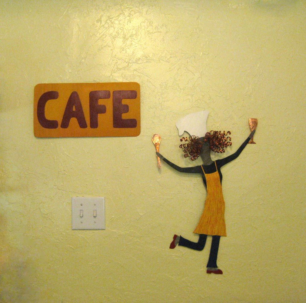Custom Made Lady Chef Recycled Metal Kitchen Wall Art Sculpture Hand ...