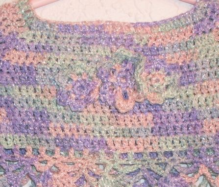 Custom Made Crochet Pink And Purple Shimmer Summer Top For 12-18 Months