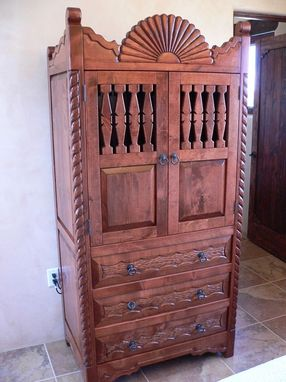 Custom Made Southwest, Hand Carved, Entertainment Cabinet