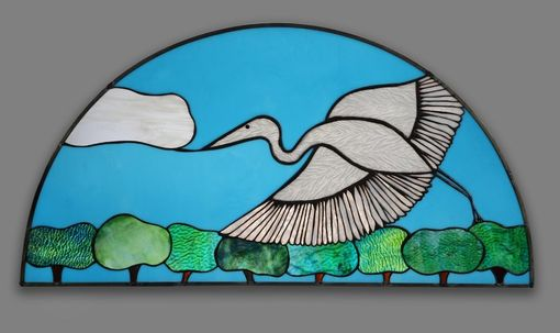 Custom Made Stained Glass Window Of Blue Heron