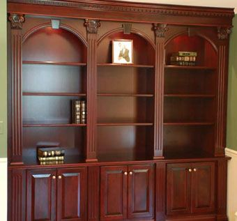Hand Made Ornate Cherry Bookcases By Artisan Custom