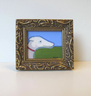 Custom Made Greyhound - Original Animal Portrait Painting Acrylic On Canvas Paper