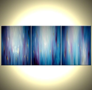 Custom Made Abstract Blue Painting,Original Purple Art,Large Modern Abstract,Gold Contemporary Painting - 24x54