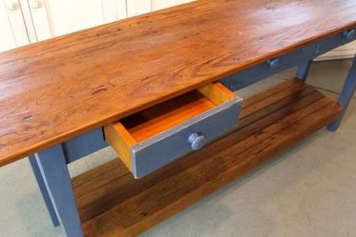 Custom Made Custom Blue Console Table From Reclaimed Wood