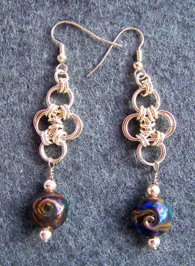 Custom Made Handmade Lentil Lampwork Beads With Sterling Silver Chainmaille Earrings In Blues And Golds
