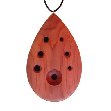 Custom Made Tear Drop Ocarina - Cedar Flute - Necklace, Oil & Bag Included