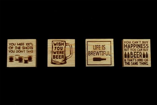 Custom Made Beer Drink Coasters Reclaimed Wood - Engraved With Humorous Quotes - Set Of 4