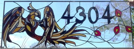 "Custom Made Stained Glass Address Marker - ""Phoenix"" (Am-179)"