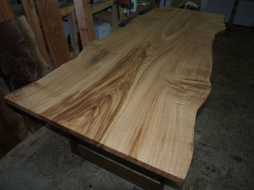 Custom Made Live Edge Chestnut Table With Steel Base.