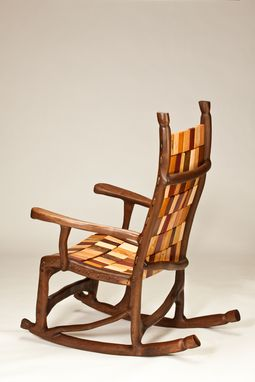 Custom Made Walnut Rope And Block Rocking Chair
