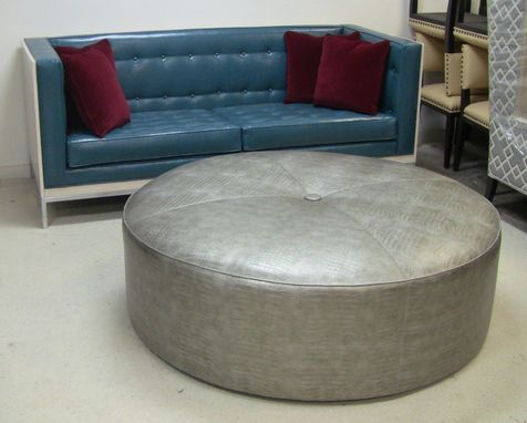"Custom Made Custom Built Sofas In Driftwood With Custom Whitewash Finish And Metal For The University House In Fullerton, Ca - 60"" Round Ottoman In Vinyl With Center Button"