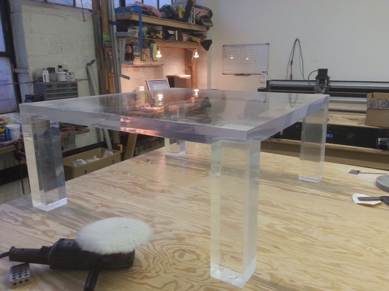 Hand Made Lucite Coffee Table In The Parsons Style by Queen of all