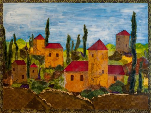 "Custom Made Encaustic Painting Titled ""My Village"""