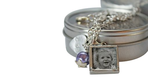Custom Made Birthstone Charm Bracelet With Personalized Hand Stamped Charm And Photo Charms