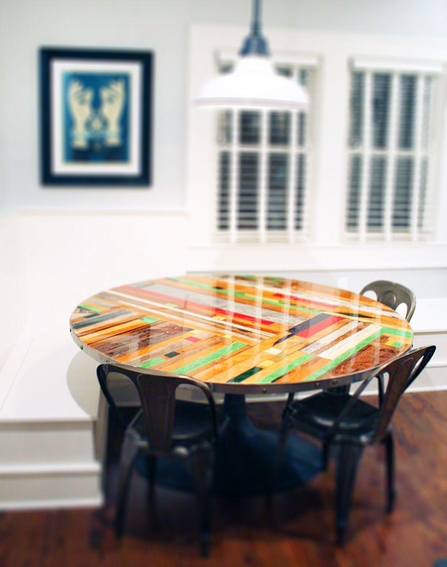 "Handmade 60"" round chevron banquette tabletop by r & r designworks ..."