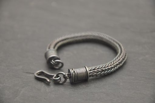 Custom Made Large Classical Loop In Loop Bracelet With Hand Built End Caps