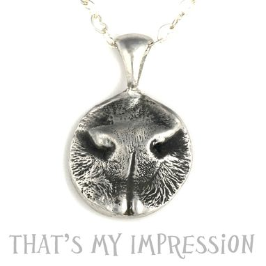 Custom Made Sterling Silver Dog Nose Print Pendant