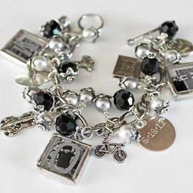 Custom Made Personalized Bracelet With Hand Stamped Charm And Photo Charms