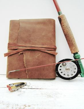 Custom Made Leather Bound Journal Outdoorsman Diary Hunter Fisherman Handmade Travel Art Notebook