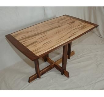 Custom Made Modern Wormy Maple & Walnut Dining Table