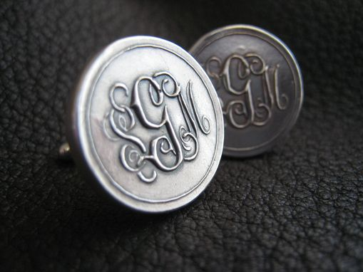 "Custom Made Sterling Silver  ¾"" Diameter Cuff Links With Monogram Of Interlaced Letters"