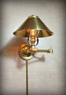 Custom Made Adjustable Articulating Wall Mount Light - Plug-In Metal Sconce - Steel And Brass, Edison Bulbs