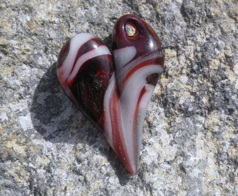 Custom Made Glass Heart Jewelry Pendant Necklace Lampwork Boro Heart Red, Sparkles And White Mixed Heart