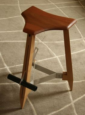 Custom Made Modern Mahogany Stool With Adjustable Footrest