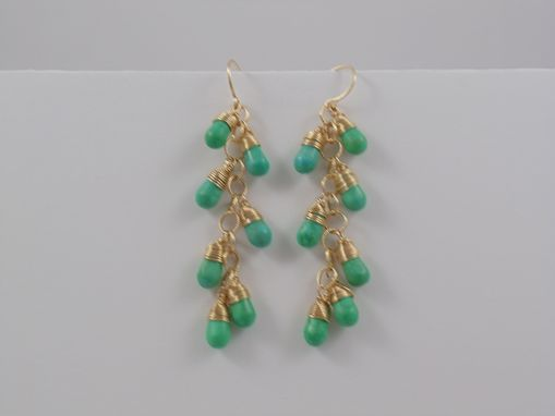 Custom Made Turquoise & Gold Cluster Earrings