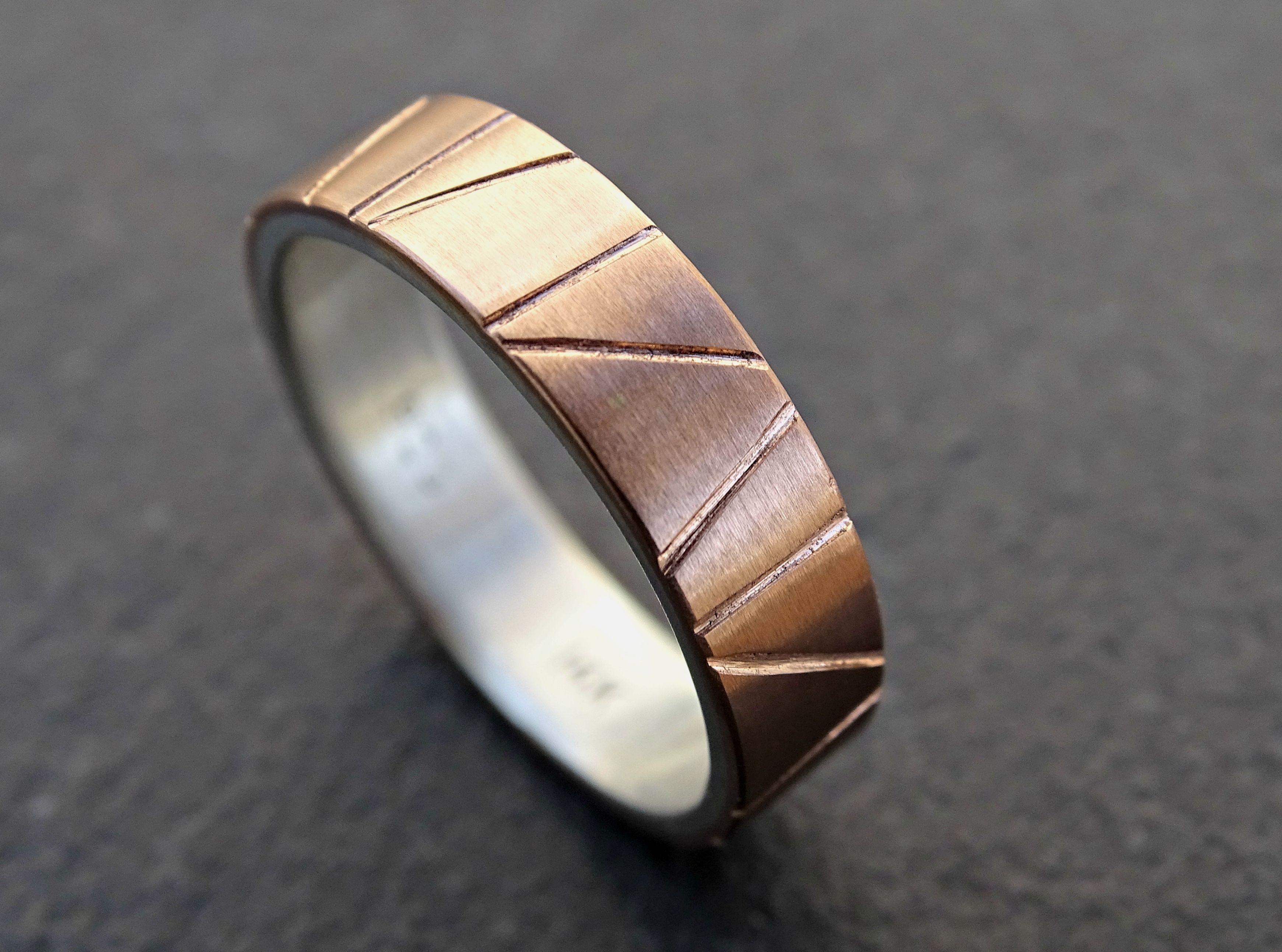 Custom Made Viking Wedding Ring Gold Mens Band Two Tone Artisan