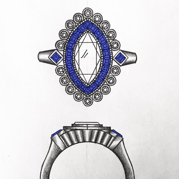 This concept sketch pairs a bright, densely set halo of princess cut sapphires with a surrounding second halo of bezel-set diamonds.