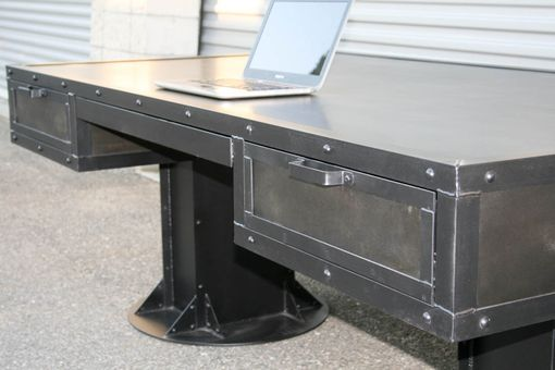 Custom Made Vintage Industrial Desk With Drawers. Steel, Custom Sizes & Reclaimed Wood Avail. Urban, Modern